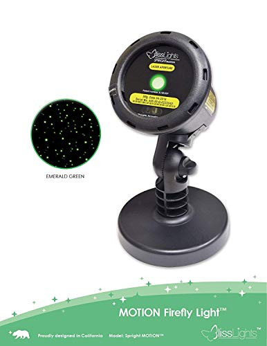 BlissLights Motion Green Firefly Laser Projector. 10 Speed Settings with Remote Control and 2 Installation Options- Ground Stake or Base Attachment. Covers 50 Feet by 50 Feet. Easy to Install.