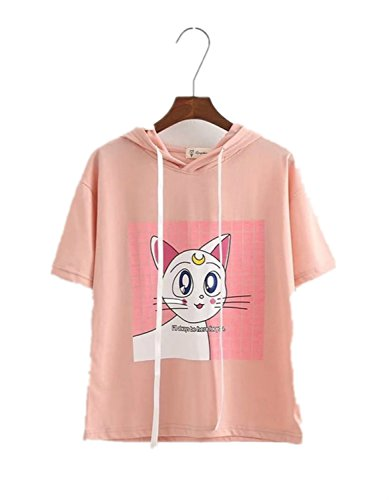 Acccity Anime Sailor Moon Style Summer Short Sleeve Hoodie T-Shirt Cosplay Costume (Pink, One Size) -