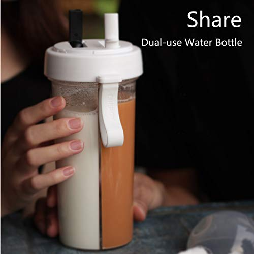 Denzar Portable Outdoor Travel Creative Dual-use Water Bottle, Double-Tube Design Drinking Cup Leak Proof, Enjoy Two Diffrents Drinks in One Bottle (White)