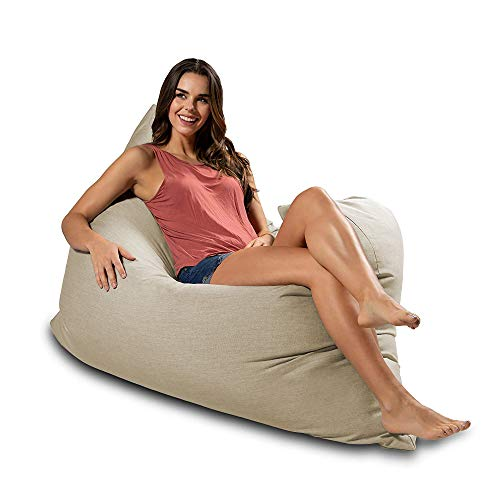 Jaxx Piper Giant Outdoor Bean Bag Floor Pillow Lounge, Sunbrella Flax (Atlanta Store Outdoor Best Furniture)