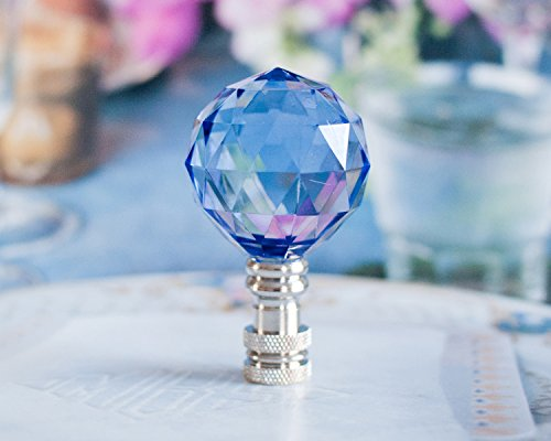 - St of 2 Gorgeous Acrylic Crystal Ball Lamp Shade Finials, Harp Toppers - Blue