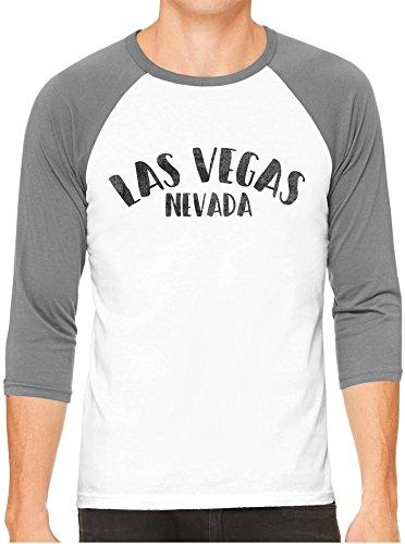 Unisex Mens City of Las Vegas Nevada 3/4 Sleeve White Baseball T-Shirt, Heather Sleeves, XS