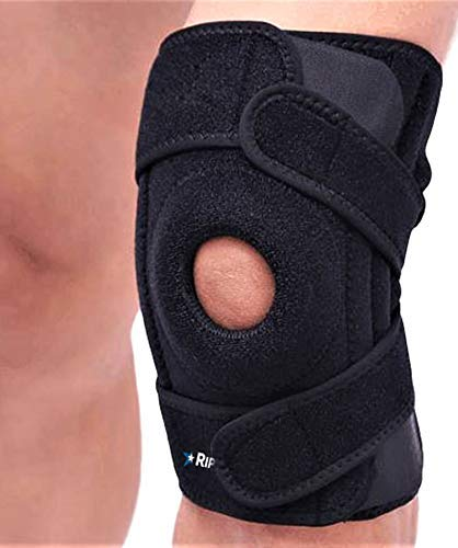 RiptGear Patella Knee Brace - Open Patella Stabilizer Knee Brace for Arthritis - Alleviate Patellar Tendonitis, Meniscus Tear, Joint Pain, Jumpers Knee, ACL Ligament Sprains (Left Leg)