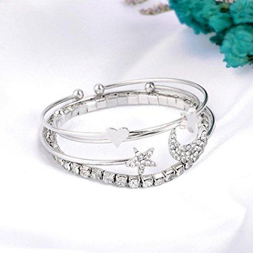- LLguz Simple Charm Women Heart Shaped Five-pointed Star Moon Four Suit Bracelet Full Of Open Adjustable Bracelet Jewelry (Silver)