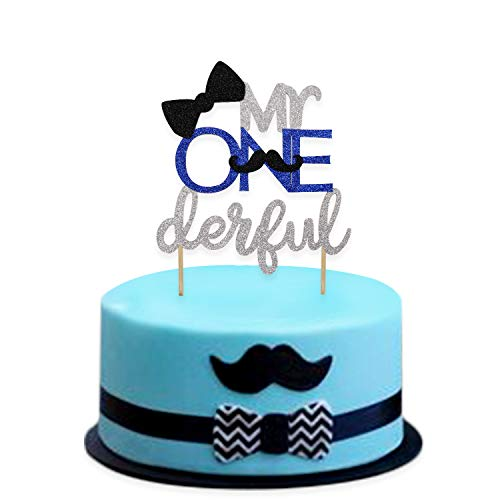 1st First Birthday Cake Topper Decoration - Mr Onederful -Double Sided Glitter Stock -