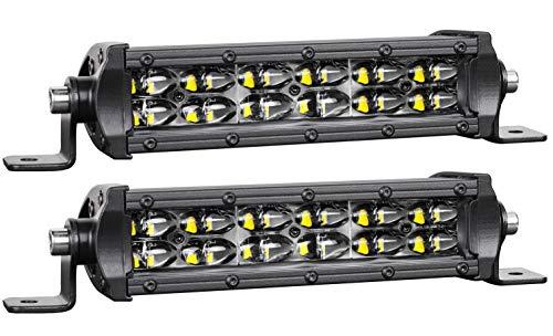 STVMotorsports 2 Pcs 6 Inch 96W Slim LED Light Bar Off Road Driving Lights Floof and Spot Combo Waterproof for Truck SUV UTV ATV Boat Car Auto 4x4 4WD Jeep