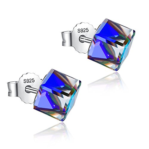 EleShow S925 Sterling Silver Earrings for Women Cube Earrings for Her Earrings Hypoallergenic Crystal from Swarovski (E_Blue Stud Earrings) Cube Swarovski Austrian Crystal