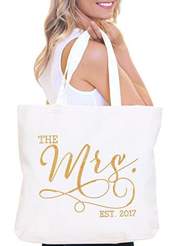 The Mrs EST. 2018 Gold or Rose Gold Bride Tote Bag - Bridal Shower Bachelorette Party Gift