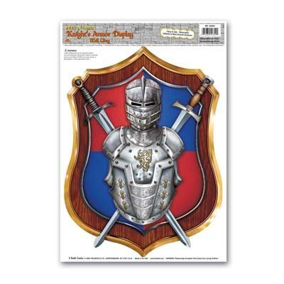 Knight's Armor Display Peel 'N Place Party Accessory (1 count) (1/Sh) Crossed Swords Wall Plaque