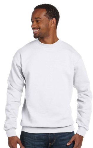 Hanes 7.8 oz COMFORTBLEND EcoSmart Fleece Crew (White, Large) (White Hanes Sweatpants)