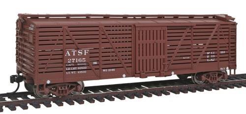 HO Scale 40' Stock Car w/Dreadnaught Ends - Ready to Run -- Santa Fe #27165 (Boxcar Red) (Ready Stock)