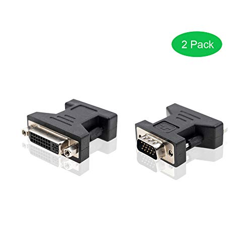 A ADWITS VGA to DVI Adapter, [2 Pack] VGA HD15 Male to DVI 24+5 Pins Female Adapter, Black