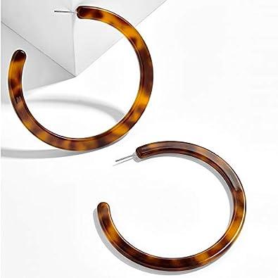 Injoy Jewelry Mottled Resin Hoop Earrings Acrylic Earrings Simple C Shaped Resin Earrings for Women Girls