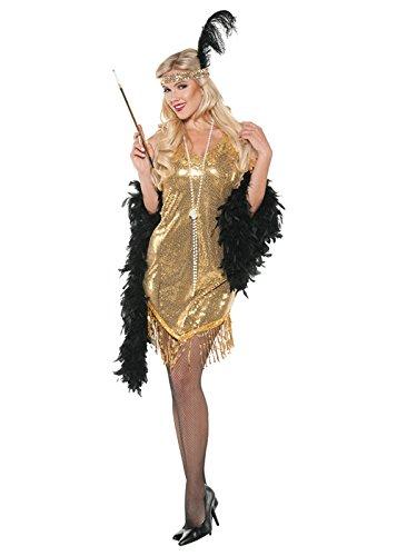 [1920s Gold Swinging Flapper Woman Costume] (Swinging 20s Costumes)