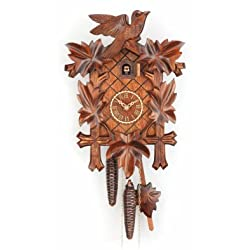 Trenkle Cuckoo Clock Five leaves with bird, 1 day running time, walnut