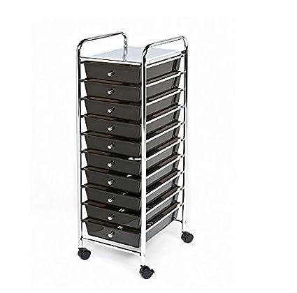 Seville Classics 10-Drawer Organizer Cart, Black