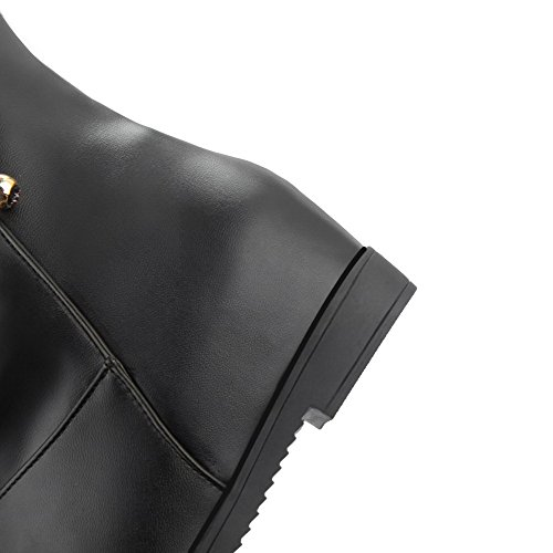 AllhqFashion Damen Mittler Absatz PU Leder Rein Ziehen auf Rund Zehe Stiefel Schwarz