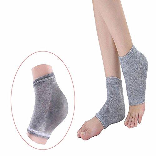 Gel Cracked Heel Socks Pinkiou Plantar Fasciitis insole Open Toe Socks Moisturizing Sleeve Soft Compression Day Night Pain Relieve Feet care (gray)