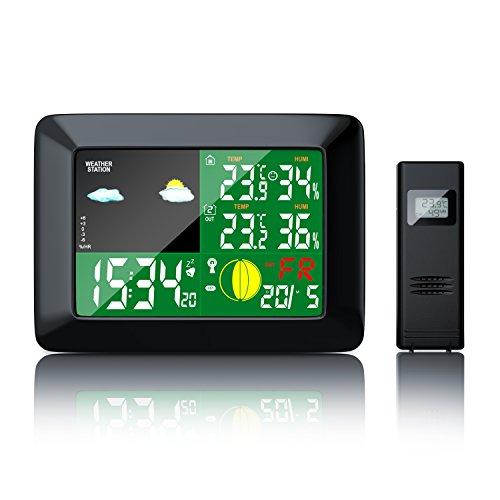Brandson - Funkwetterstation mit Farbdisplay   zusätzlicher Außensensor   Mondphasen-Anzeige / Innen- und Außentemperatur / Wettervorhersage-Piktogramm / Tendenzanzeige uvm.