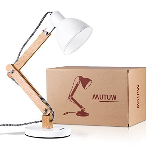 MUTUW Wooden Swing Arm Desk Lamp, e26/e27 LED Bulb Lamp, 40W, Metal & Wooden, Perfect for Reading Study Work Office - White by MUTUW (Image #1)