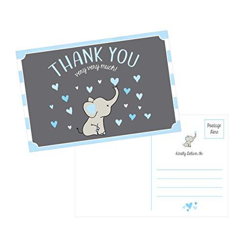 50 4x6 Elephant Boy Baby Shower Thank You Postcards Bulk, Beautiful Modern Cute Boho Blue Blank Thanks Note Card Stationery Appreciation Set (Baby Boy Postage)