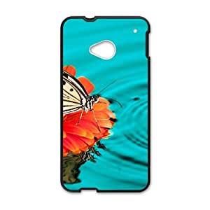 HTC One M7 Cell Phone Case Black Butterfly 12D Plastic Case JOW