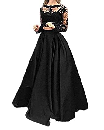 Nina Illusion Two Piece Prom Dresses Long Lace Crew Neck Evening Party Dresses With Sleeves NND050