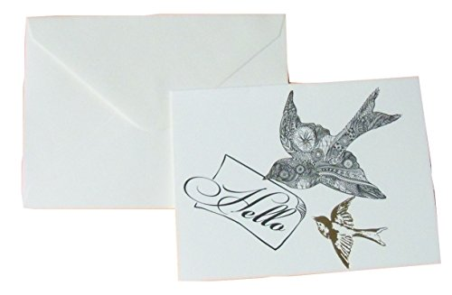 Gold Foil Blank Cards ~ Once Discovered (Hello, Birds; 6 Cards with Ivory Envelopes; 3.75