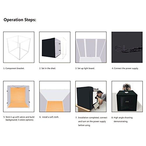 PULUZ Photo Studio Light Box 31.5'' X 31.5'' X 31.5'' / 80 X 80 X 80 cm LED 5500LM Mini Portable Photo Studio Shooting Tent with 3 Backgrounds White Black Orange 80W by PULUZ (Image #8)