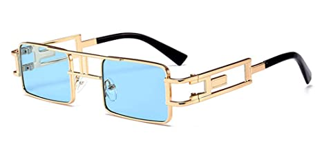 5679f99593150 Mens Rectangular Sunglasses Steampunk Men Metal Frame Gold Black Red Flat  Top Square Sun Glasses For