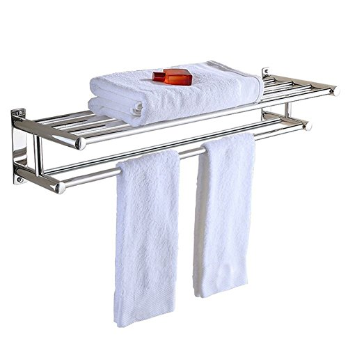 (PNBB Stainless Steel Double Towel Bar 23 inch wih 5 Hooks,Bathroom Shelves,Towel Holders Bath,Towel Rack,Bathroom Shelves )