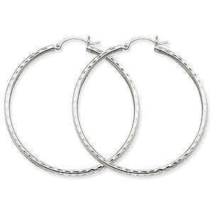 14k White Gold Diamond-cut 2mm Round Tube Hoop Earring by UKGems