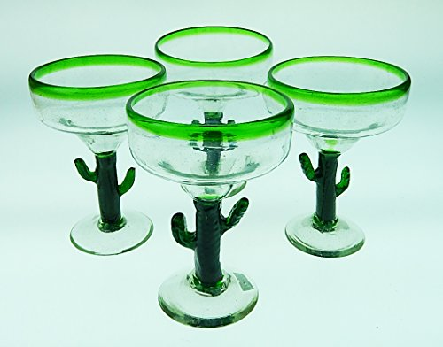 (Mexican Glass Margarita Saguaro Cactus Green Rim Hand Blown Set of 4)