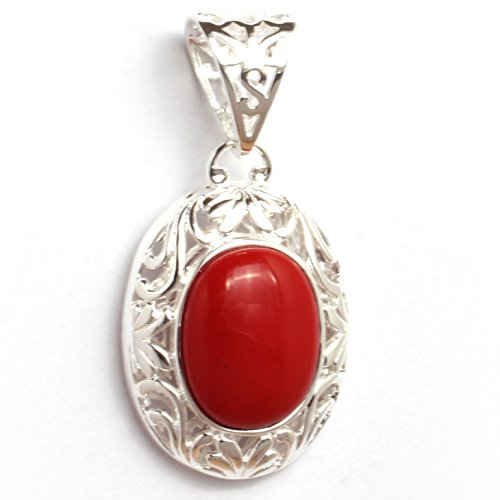 Fashion Jewellry GEM-Inside 30x60mm Oval Manmade Red Coral Beads Tibetan Silver Base Pendant