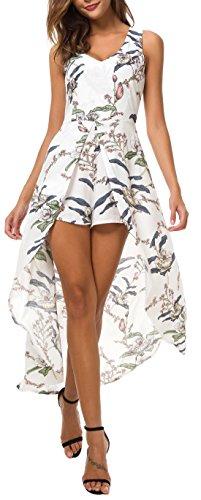 KorMei Womens Sleeveless Scoop Neck Floral Rayon Party Split Maxi Romper Dress S White