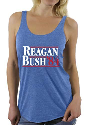Awkwardstyles Women's Reagan Bush '84 Sayings Racerback Tank Tops + Bookmark L Vintage Blue (Tops Bush)