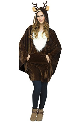 Fun World Women's Reindeer Poncho Adult Costume, Multi, Standard ()