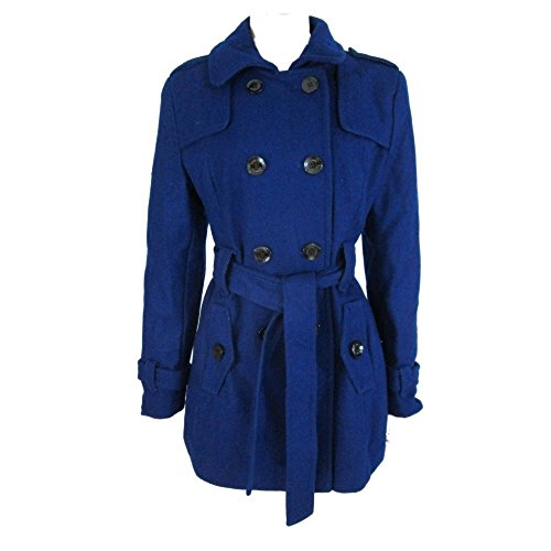 (Kenneth Cole Reaction Double Breasted Wool Trench Coat Blue (Medium))
