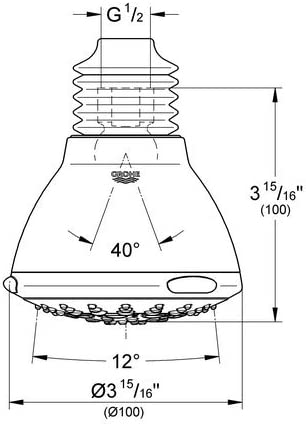 Relexa Ultra 100 5-Spray Raincan Showerhead