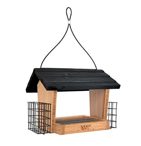 natures-way-bird-products-bwf19-bamboo-hopper-bird-feeder-with-suet-cage-6-quart