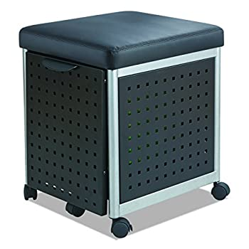 Safco Products 5380BL Scoot Mobile Filing with Cushioned Seat, Black