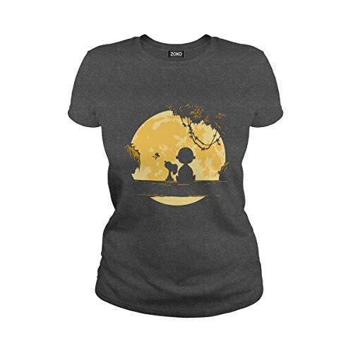 Zoko Apparel Women's Snoopy Moon Ladies T-Shirt (S, Dark Heather)]()