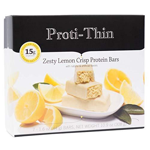Proti-Thin - Zesty Lemon Crisp Protein Bar - 15g Protein - Low-Carb Diet Bar - High Fiber Snack Bar - Gluten Free - (7/Box)
