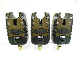 TMC - Indicador de picada con alarma auditiva para pesca de carpas (conectores jack, aviso de extracción, luz nocturna, configuración silenciosa, 4 sonidos e intensidades diferentes, 3 unidades)