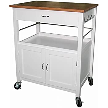 ehemco kitchen island cart natural butcher block bamboo top with white base amazon com   ehemco kitchen island cart natural butcher block      rh   amazon com