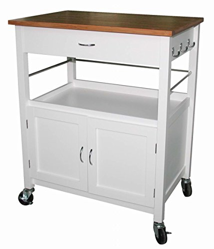 eHemco Kitchen Island Cart Natural Butcher Block Bamboo Top with White (Butcher Block Top Kitchen Cart)