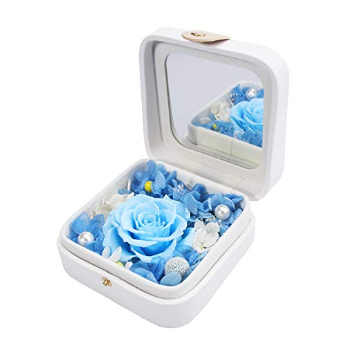 hey June Flower Gifts,Preserved Flower Rose,Never Withered Roses,Upscale Immortal Flowers,Gifts for Mom Her,Mother's Day,Valentine's Day,Birthday,Christmas,Anniversary,Mirror Series (Blue)