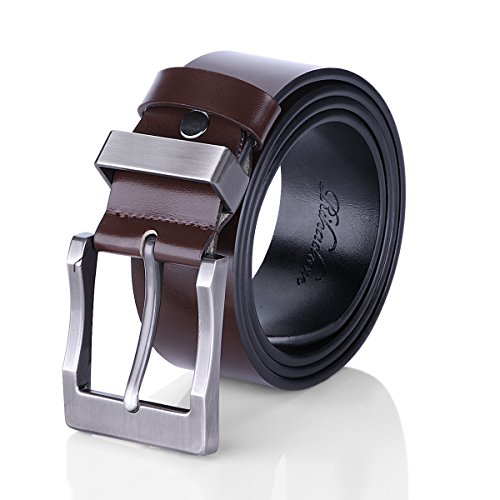 [Rihachan Men's Reversible Business Casual Belt with Pin Buckle, Black/Brown, 45 to 46] (Belt Size Waist Size)