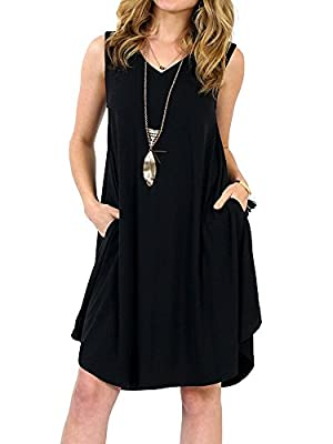 Imysty Womens Summer Sleeveless Solid Dresses Casual V Neck Swing Tshirt Dress with Pockets