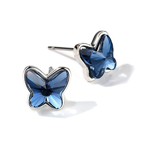 T400 Blue Purple Pink Lever Back Butterfly Earrings Made with Crystal ♥ Birthday Gift for Women ()